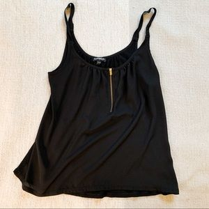 Express Black Tank with Gold Zipper - Size Small